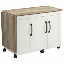 Sauder Craft & Hobby Contemporary Wood Sewing Craft Table in Soft White