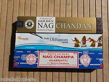 ENCENS lot de 3  Boites de 15 g Nag Champa+Golden Nag Chandan+Oliban Aromatika