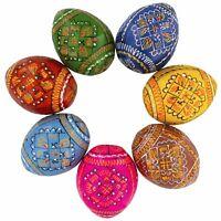 7 Geometric Ukrainian Wooden Easter Eggs Pysanky