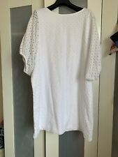ZARA WHITE SHIFT COTTON DRESS BRODERIE ANGLAISE IN LARGE GREAT CONDITION