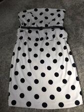Ladies White & Black Polka Dot Strapless Peplum Dress Size 14