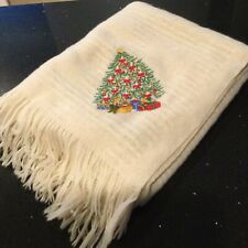 Lands' End Coming Home  Christmas Tree Blanket Throw 100% Wool