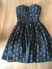Dotti - Strapless Black Dress with White Crosses (Crucifix) Size 6