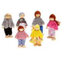 6pcs Cute Doll Wooden House Family People Set Kid Children Pretend Play Toy Gift