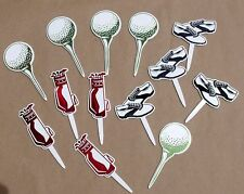 13 NEW Asstd DecoPac GOLF Cupcake & Sheet Cake Picks Balls Bag Shoes Birthday