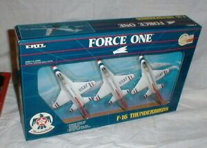 NEW 1989 Ertl Force One F-16 THUNDERBIRDS Die-Cast Fighter Jet Squadron in Box