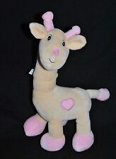 Peluche Doudou Girafe Jaune ARTHUR ET LOLA BEBISOL Coeur Rose Hochet 30 Cm NEUF