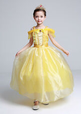 Kids Girl Princess Belle Beauty and the Beast Cosplay Costume Fancy Dress 4-5T