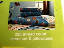 CIRCO Boy's 4 Pc Full Sheet Set SCORE! Sports Theme 2 Sheets 2 Pillowcases ~NIP~