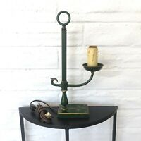 Vintage Footed Green Candle Style Lamp Green with Gold Trim