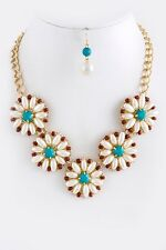 D20 Flower Faux Pearl Red Turquoise Beaded Round Necklace Earring Set Boutique