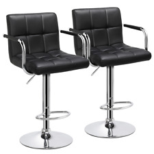 2pcs Swivel Bar Chairs Adjustable Bar Stools Large Chassis Kitchen Chairs Black