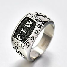Silver Tone Stainless Steel FTW Middle Finger Biker Ring Men's Jewelry Size Q-Z