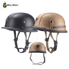 DOT Retro German Style Motorcycle Half Helmet Cruiser Chopper PU Leather Helmets