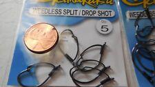 4 packs gamakatsu weedless split / drop shot hook size 1 50910 5 per pack