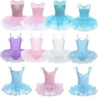 Girls Kids Leotard Dress Ballet Dance Gymnastics Tutu Skirt Dancewear Costume