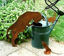 neugierige KATZE KATER Topfgucker rostig eine tierische Deko 4 Grö. Maus Mietze