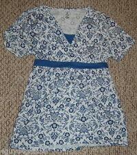 Womens Smock Shirt BOBBIE BROOKS Blue Print Tie Back V Neck  6