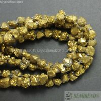 Natural Quartz Crystal Druzy Chip Nugget Titanium Coated Beads Metallic Gold