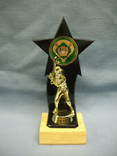 baseball backdrop star black with green insert trophy wood base