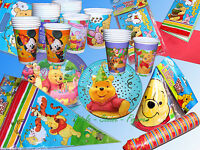 Winnie Puuh Mickey Maus Party Set Kindergeburtstag Papp Teller Becher Servietten