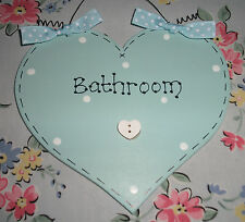 Shabby Chic BATHROOM Heart Plaque Sign ~ Choose Any Colours and Message