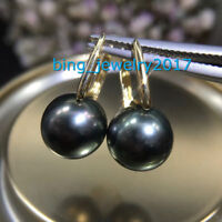 AAA+ 10-11mm real natural south sea black round pearl earrings 18k Yellow Gold