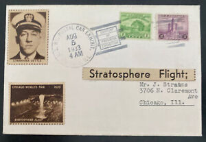 1933 Chicago iL USA Stratosphere Flight Airmail Cover Commander Settle