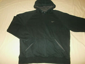 NIKE BLACK COTTON BLEND HOODED SWEATSHIRT MENS LARGE EXCELLENT CONDITION