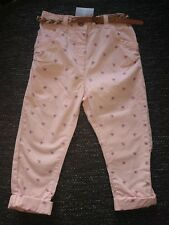 NEXT Girls Pink Trousers With Belt Adjustable Waist 1.5-2 Years 18-24 Month BNWT