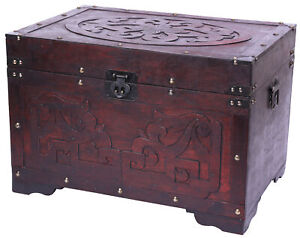 New Vintiquewise Cherry Wood with Fretwork Detail Vintage Trunk, QI003426.L