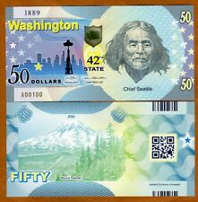 USA States, Washington $50, Polymer, ND (2020) > Chief Seattle, Mount Rainier