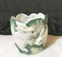 Vintage Planter Bisque Ceramic Rabbit & Cabbage Leaves Pot preowned