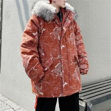 Men Thick Parka Faux Fur Hood Coat Animal Print Winter Warm Padded Jacket Casual