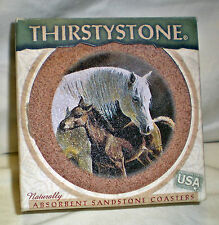 "Thirstystone ""Pride & Joy"" Sandstone Coasters; Set of 4; New in Original Box"