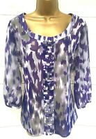 Per Una M&S Marks & Spencer Sheer Purple Mix Top Belted - 14