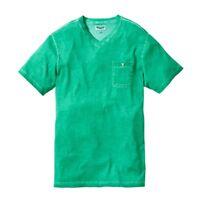 LABEL J Mens Green V Neck T Shirt Plain Short Sleeve with Pocket Oil Wash Medium
