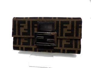 Authentic FENDI Zucca Pattern Bio-fold Wallet Purse Canvas Leather A-1823