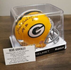 Herb Adderley HOF 80 Super Bowl 1 & 2 Packers Mini Helmet TriStar Auto Signed