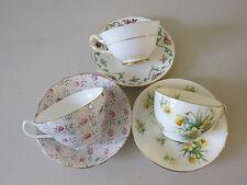 3 SETS FLORAL TEA CUPS & SAUCERS ROYAL STUART ROYAL CHELSEA HAMMERSLEY ENGLAND