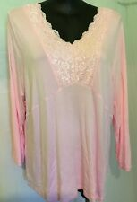 "AUTOGRAPH SOFT PINK ""LACE NECKLINE"" JERSEY PAJAMA TOP SZ 24-NEW IN! SOOO SOFT"