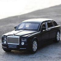 1:24 Rolls-Royce Phantom Diecast Model Car Toy Sound&Light Black New in Box Gift