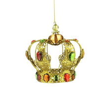 Golden Crown Jewelled Christmas Hanging Decoration 12cm/4.75 Inches Tall
