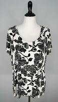 CHICOS Black White Floral Scoop Neck Blouse Top Shirt Size 3 XL 16 US EUC