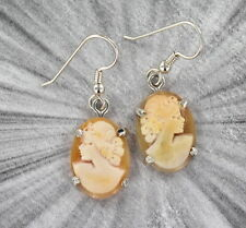 Vintage Antique Shell Cameo Earrings in Sterling Silver Settings