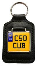 C50 CUB Reg Number Plate Leather Keyring Gift for Honda C50 Cub Step Thru Owners