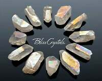 1 Small RAINBOW Angel Aura Rough Quartz Point Platinum & Silver Frosted #AA06