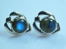Marvelous Pure 925 Solid Sterling Silver Stud Earrings With Flashy Labradorite