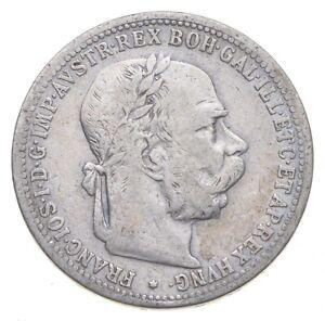 Roughly Size of Quarter 1901 Austria-Habsburg 1 Corona World Silver Coin *819