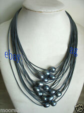 New 11-12mm Black Baroque Freshwater Pearl Multi-Strand Leather Necklace